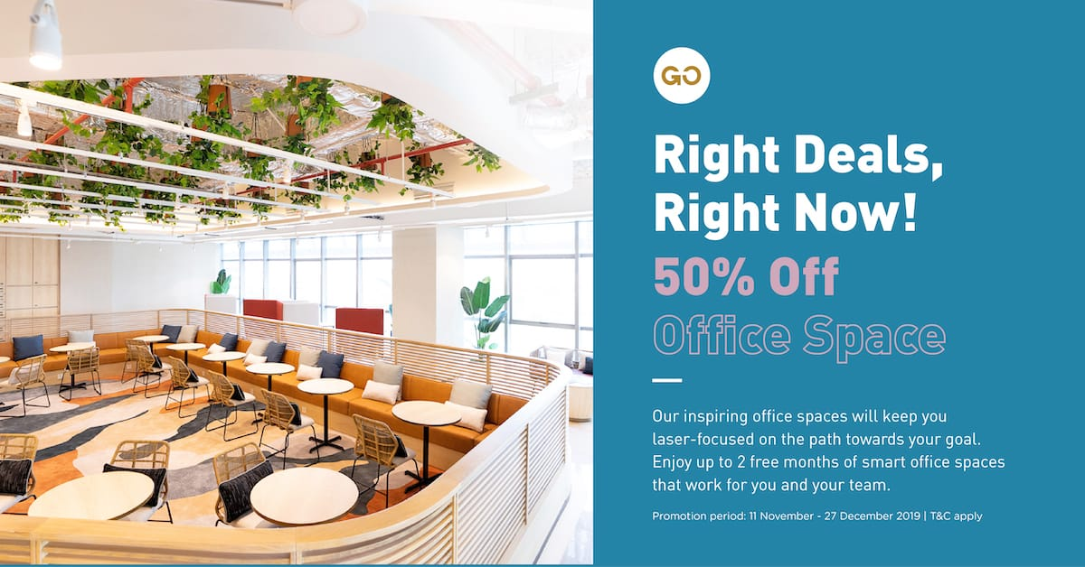Right Deals, Right Now                             50% Off Office Spaces